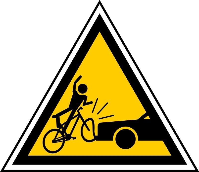 Warning Street Sign of a Bicycle Accident