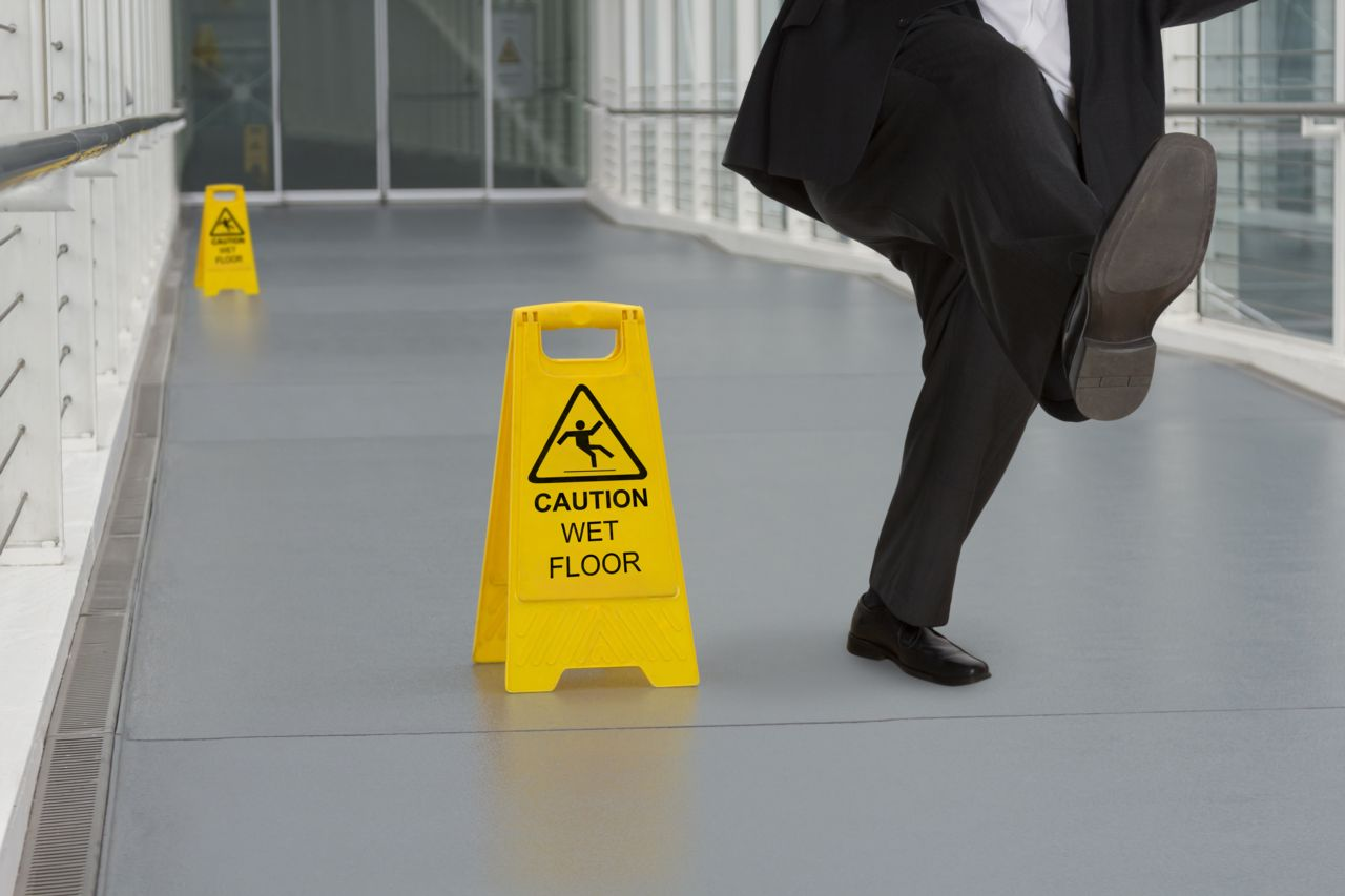 Someone Slipping on an Office Floor