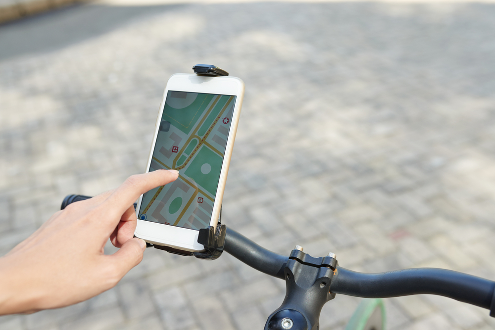 Cyclist Using Their Cycling App