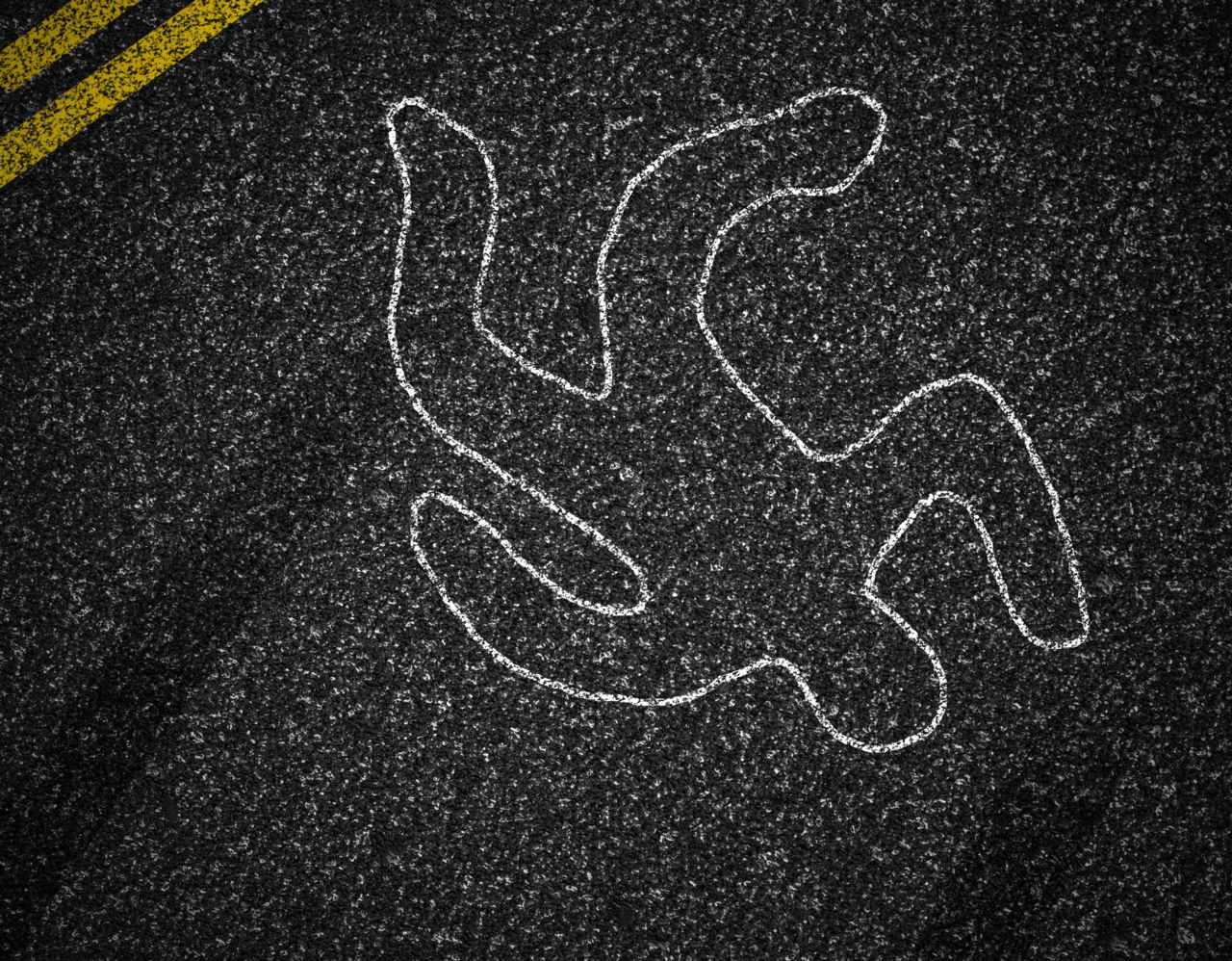 Image of Pedestrian Drawn on the Road with Chalk