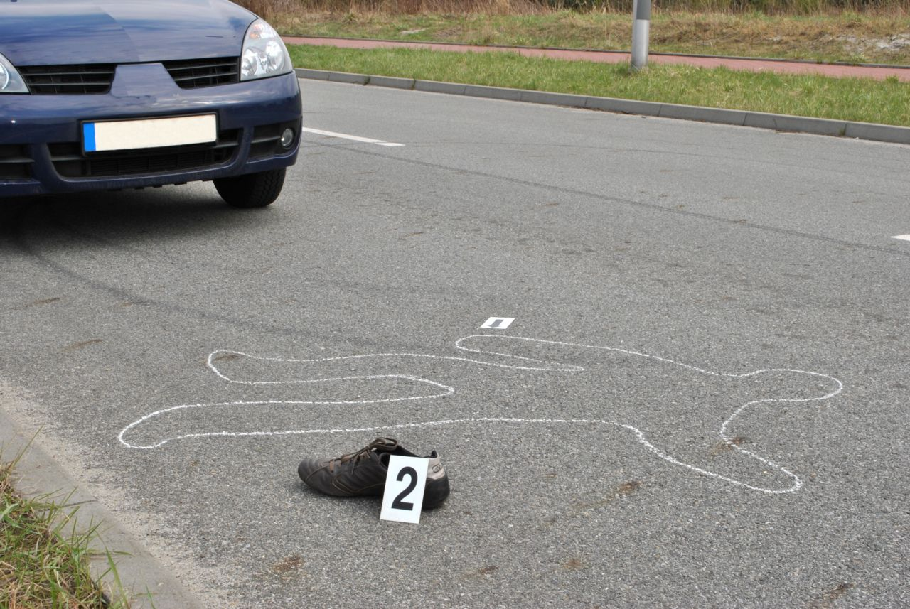 Chalk Drawing on the Street Indicating a Fatal Pedestrian Accident