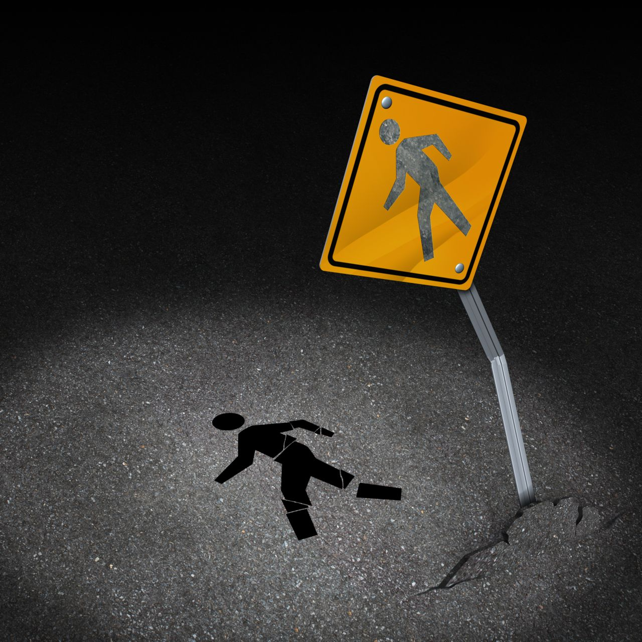 Pedestrian Caution Sign at Night