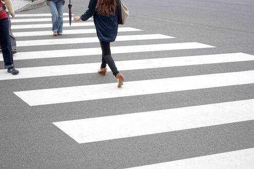 Pedestrians Crossing at a Crosswalk