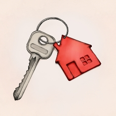 Homeowners Key With a Red Key Chain