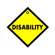 Disability in Black Wording on a Yellow Background