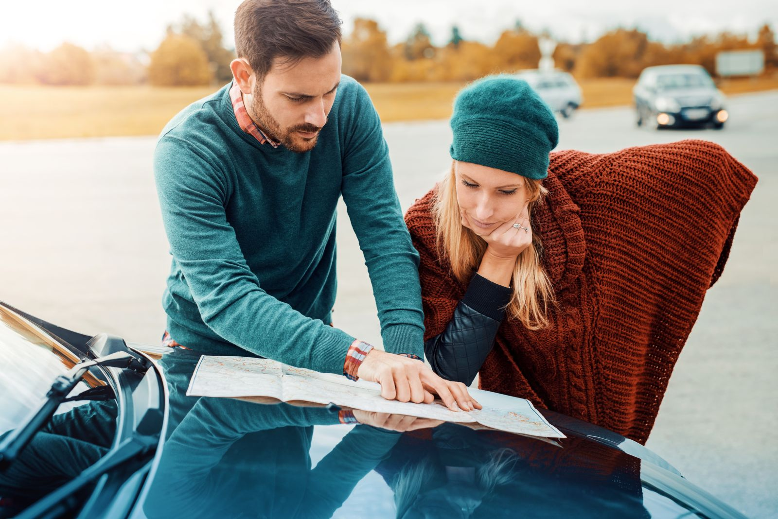 Couple planning new driving route