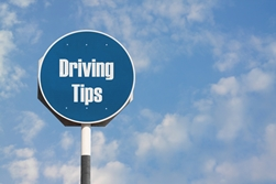 Blue Driving Tips Sign