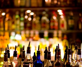 Close-Up View of a Liquor Station at a Bar