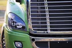 Front End of a Green Semi-Truck