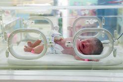 A Newborn Baby in an Incubator