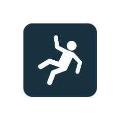 A Blue and White Slip and Fall Sign