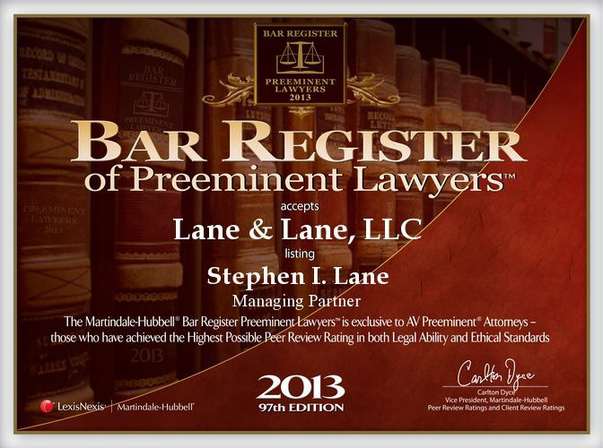 2013 Martindale-Hubbell Award to Lane & Lane, LLC