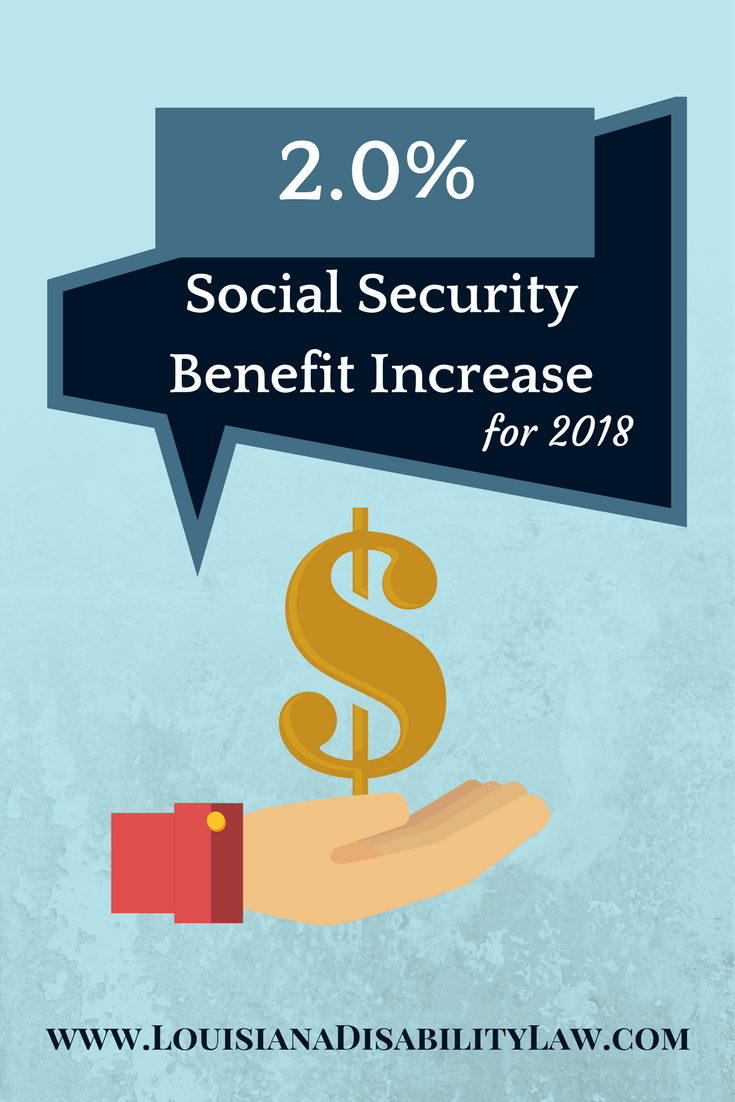 2.0% Social Security COLA increase for 2018