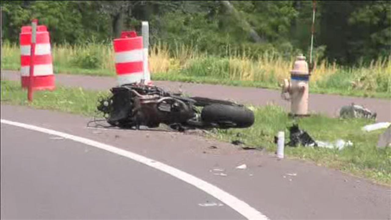 motorcycle wreck from debris