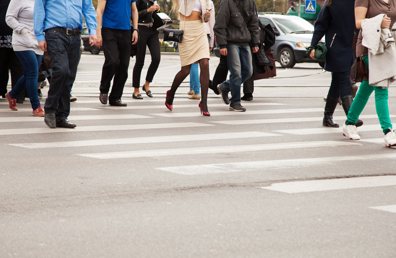 Legs of Pedestrians in a Crosswalk