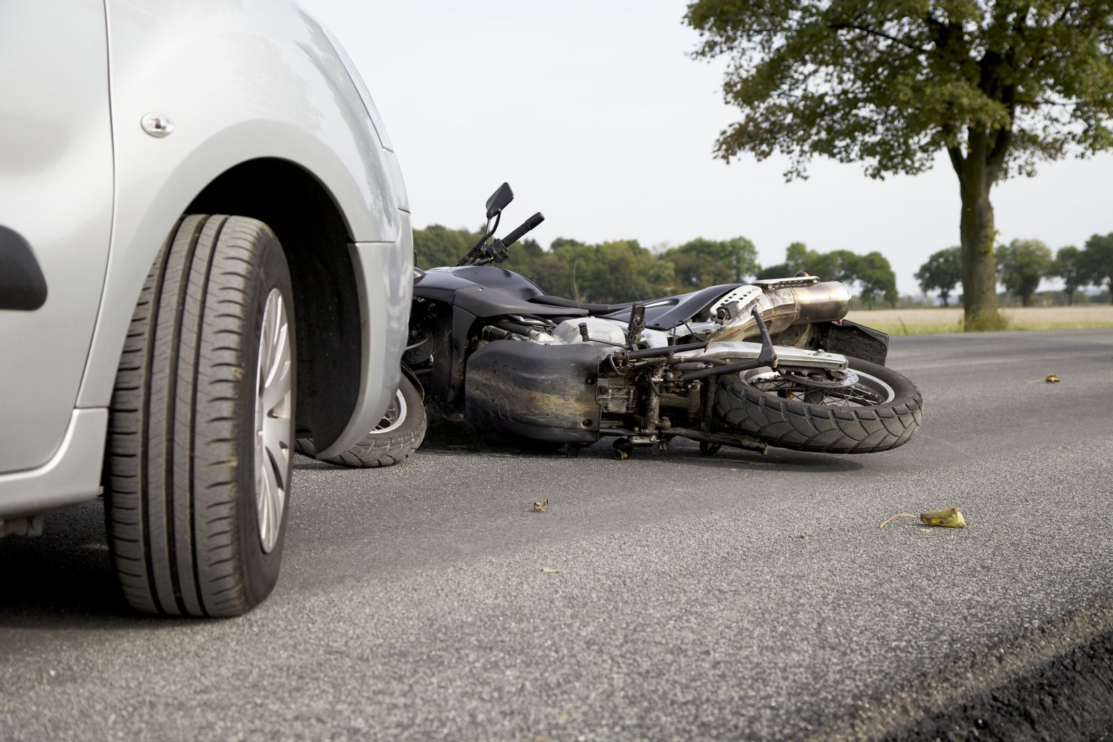 Motorcycle on Road After Accident
