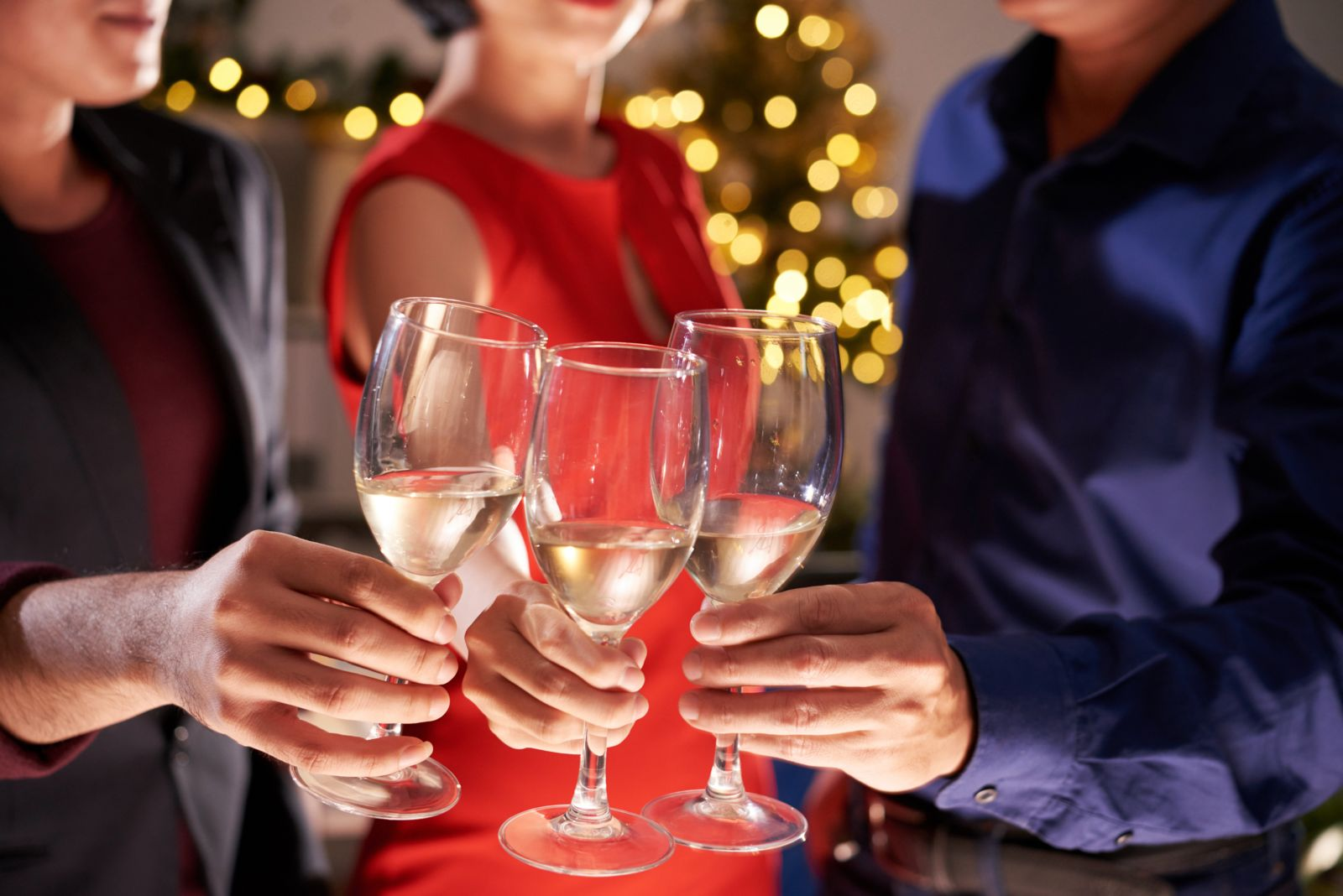 People Drinking Alcohol at Holiday Party