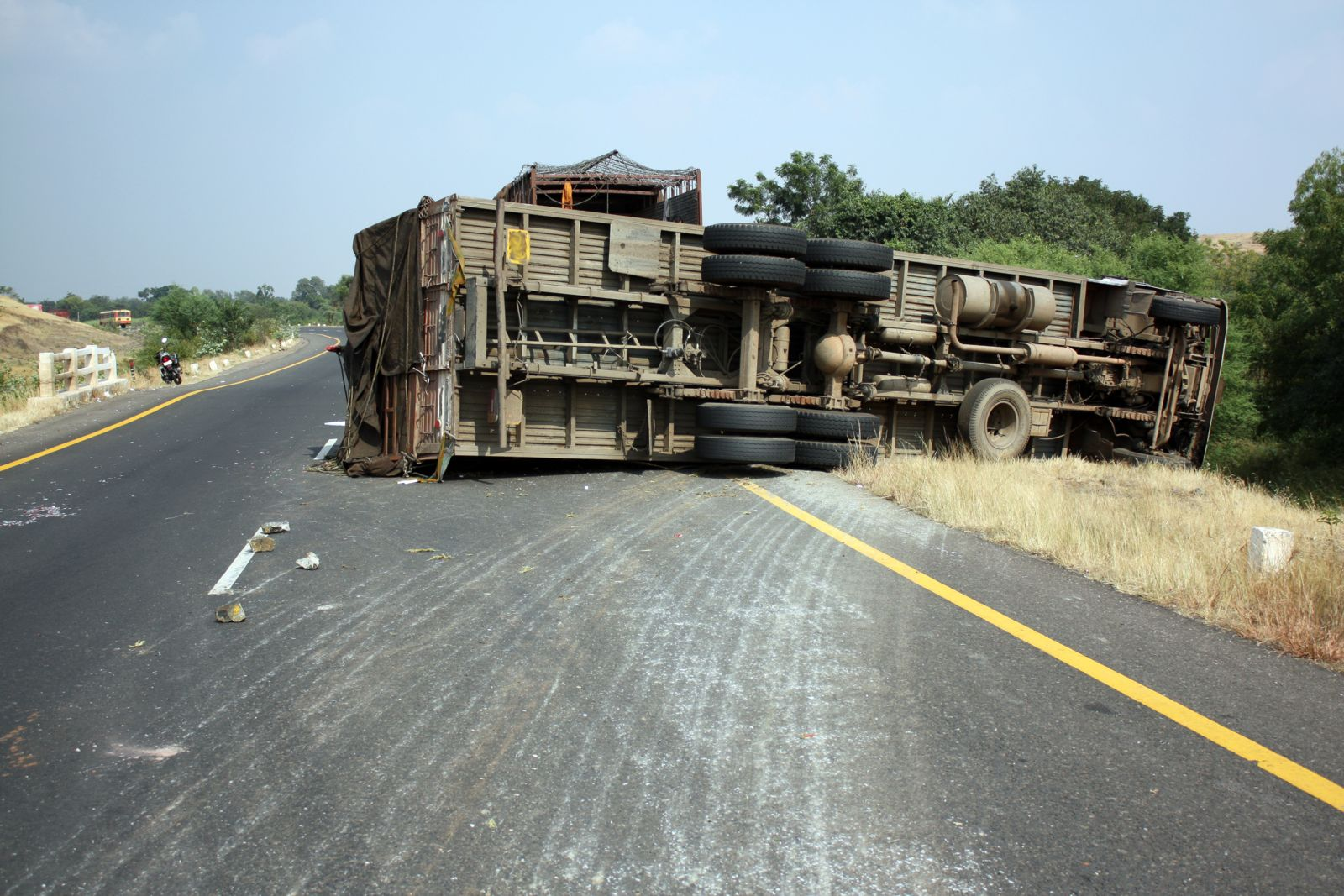 Truck Overturned on Highway