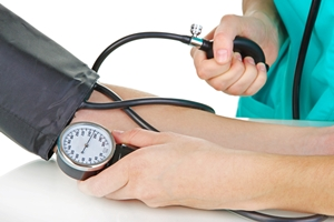 Patient getting blood pressure taken