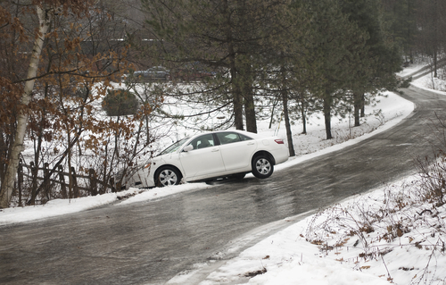 car accident on icey road in morristown