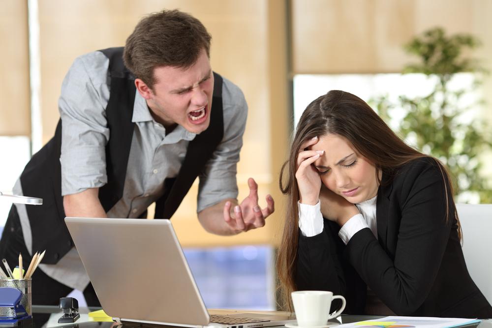 Boss yelling at employee