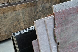 Slabs of granite piled up