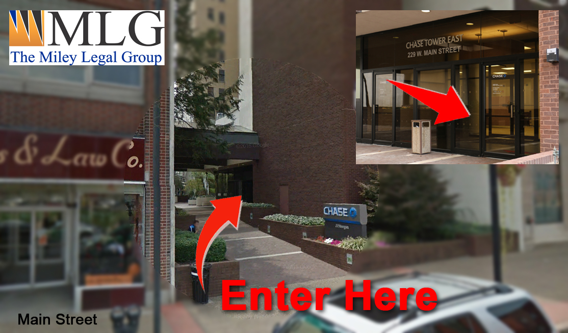 entrance of chase building miley legal group clarksburg