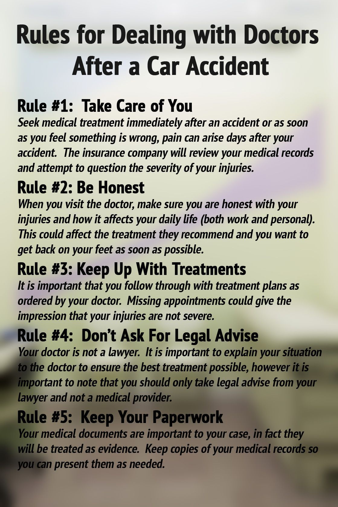 5 Rules for Dealing with Doctors after a Car Accident Image