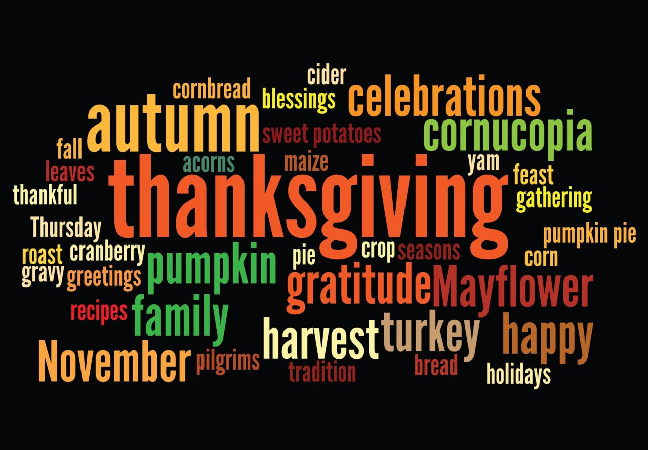 Thanksgiving Words in a Colorful Display