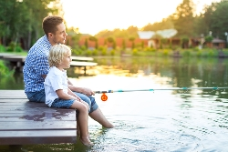 Father with child in the outdoors