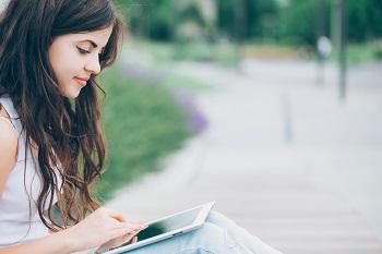 Teen girl on social media platforms
