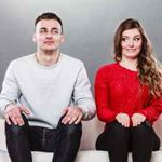 Couple sitting in premarital Counseling session