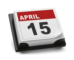 Desk calendar on April 15