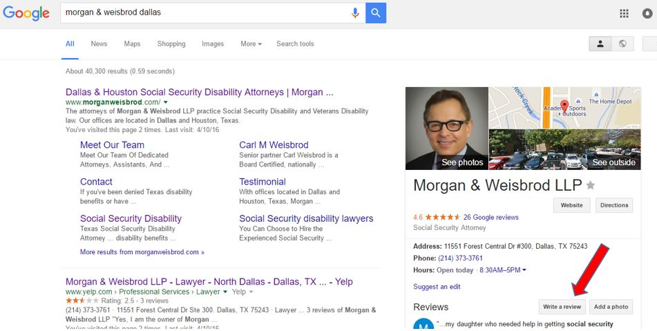 Google+ reviews Morgan & Weisbrod Dallas office