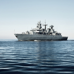 Navy ship on open water