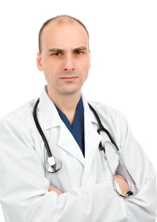 Doctor with disapproving look