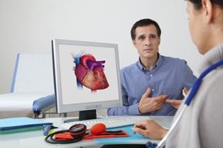 Man having cardiac consultation with doctor