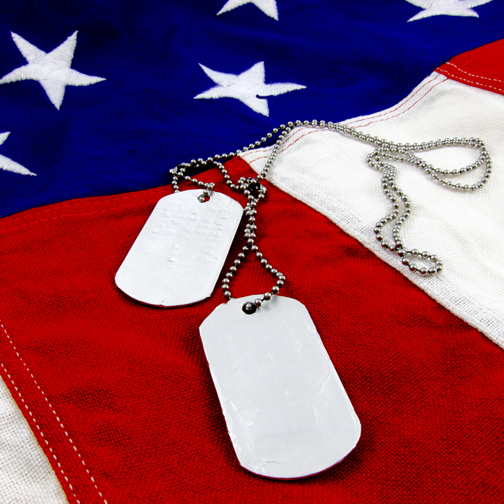 Dog tags on U.S. flag