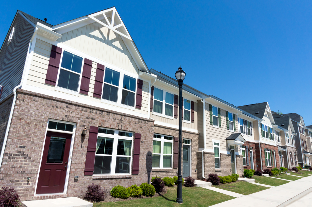 Row of affordable townhouses