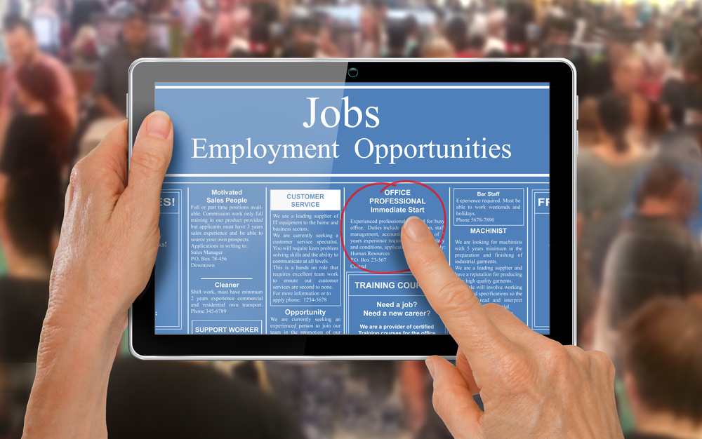 Job listings on tablet