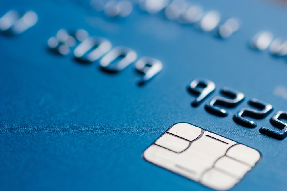 Close-up of a credit/debit card