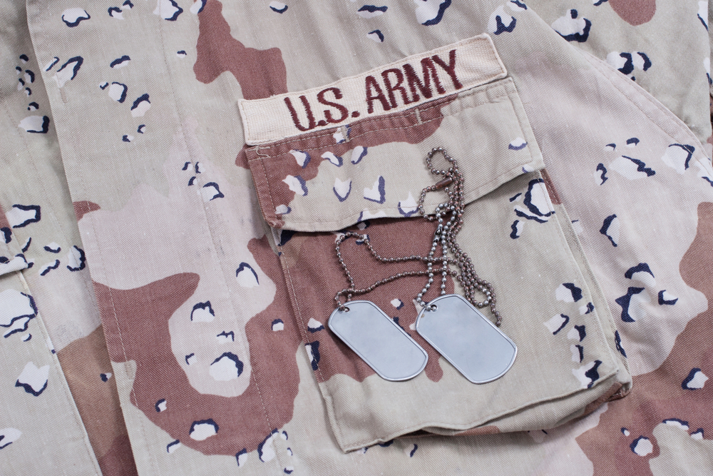Desert army uniform with dog tags