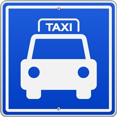 Blue and White Taxi Sign