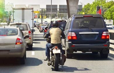 biker in rush hour