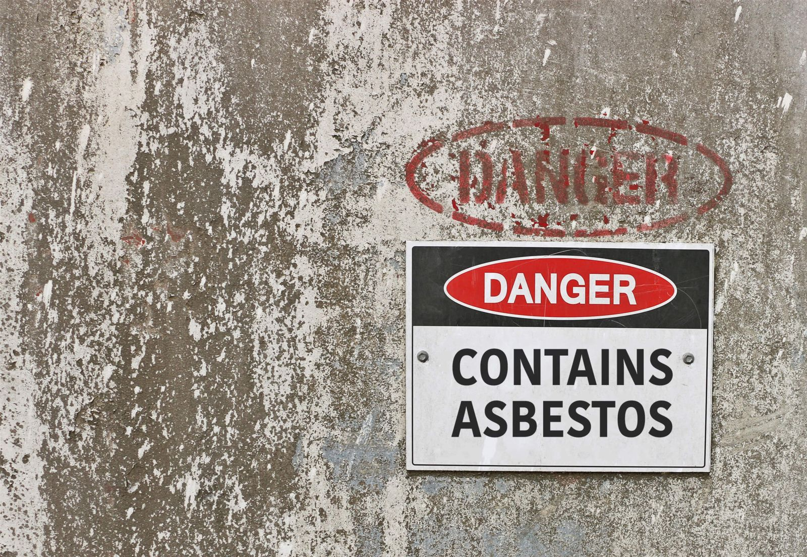 Warning for area containing cancer-causing substance asbestos