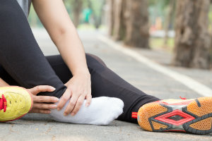 Runner with sprained ankle