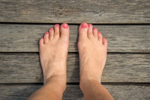 barefoot on pool deck