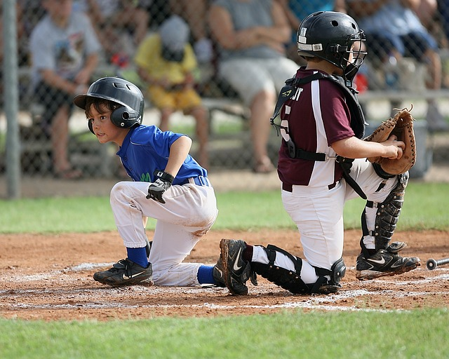 Kids Playing Baseball Knees Bended