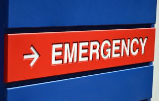 Red and Blue Emergency Room Sign