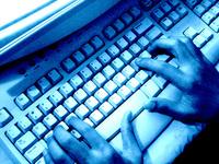 computer keyboard someone typing
